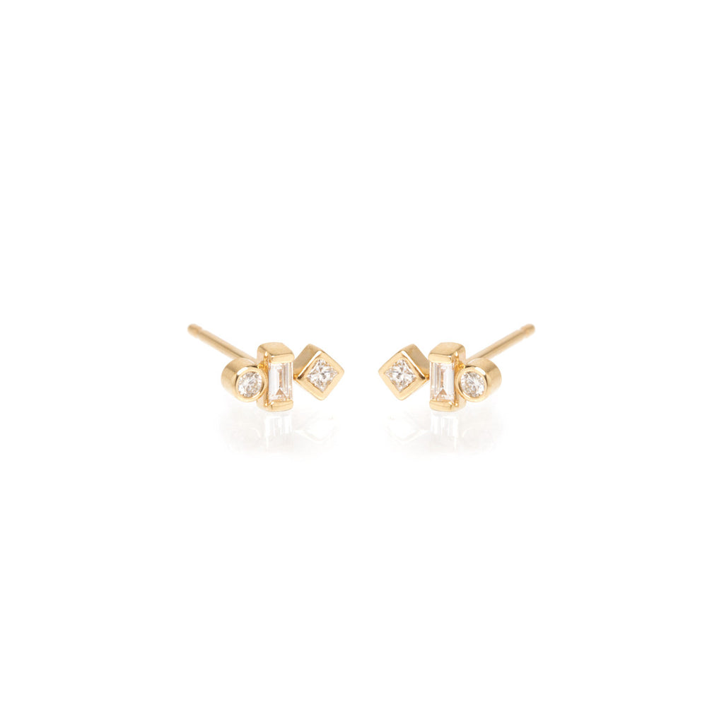 14k tiny mixed shaped diamond studs