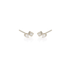 14k mixed diamond studs