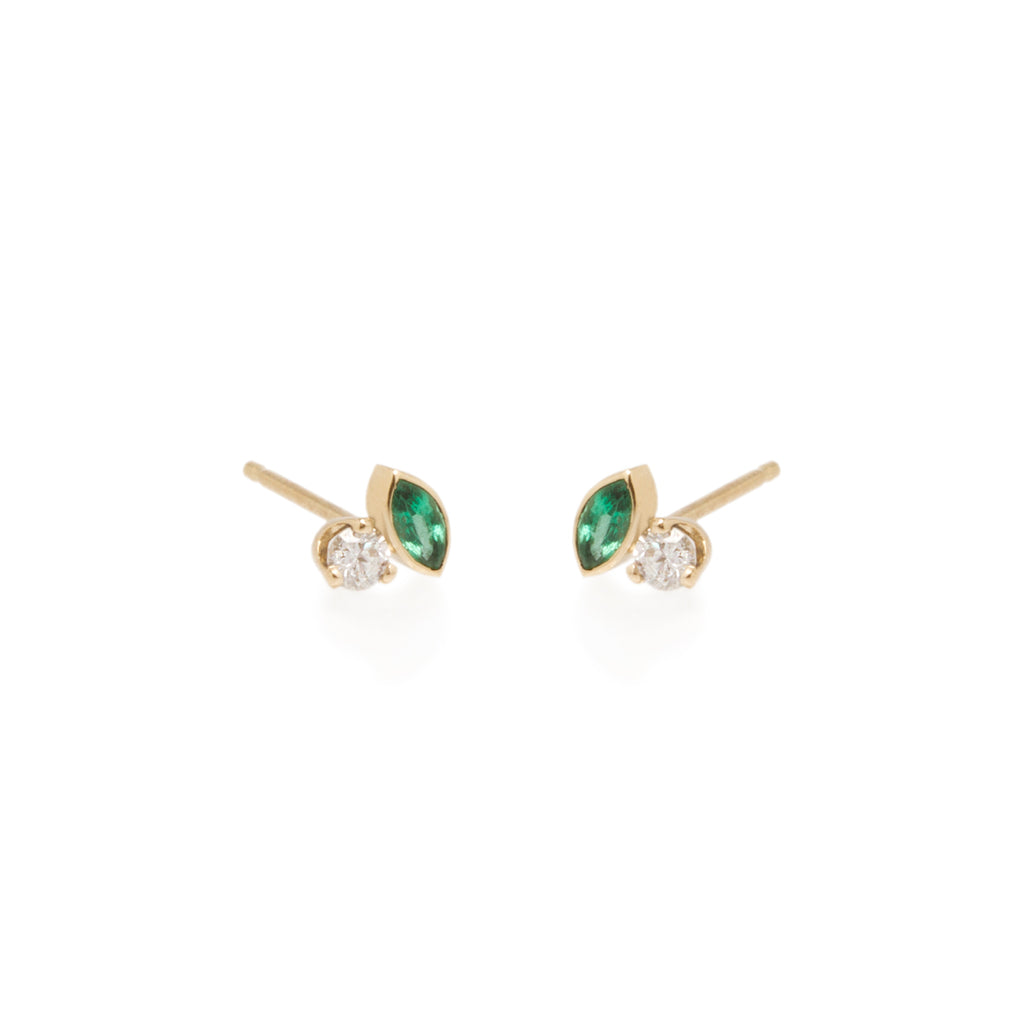 Zoë Chicco x Gemfields 14k mixed marquis emerald and diamond studs