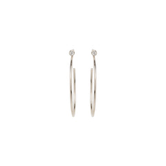 14k medium diamond stud hoops