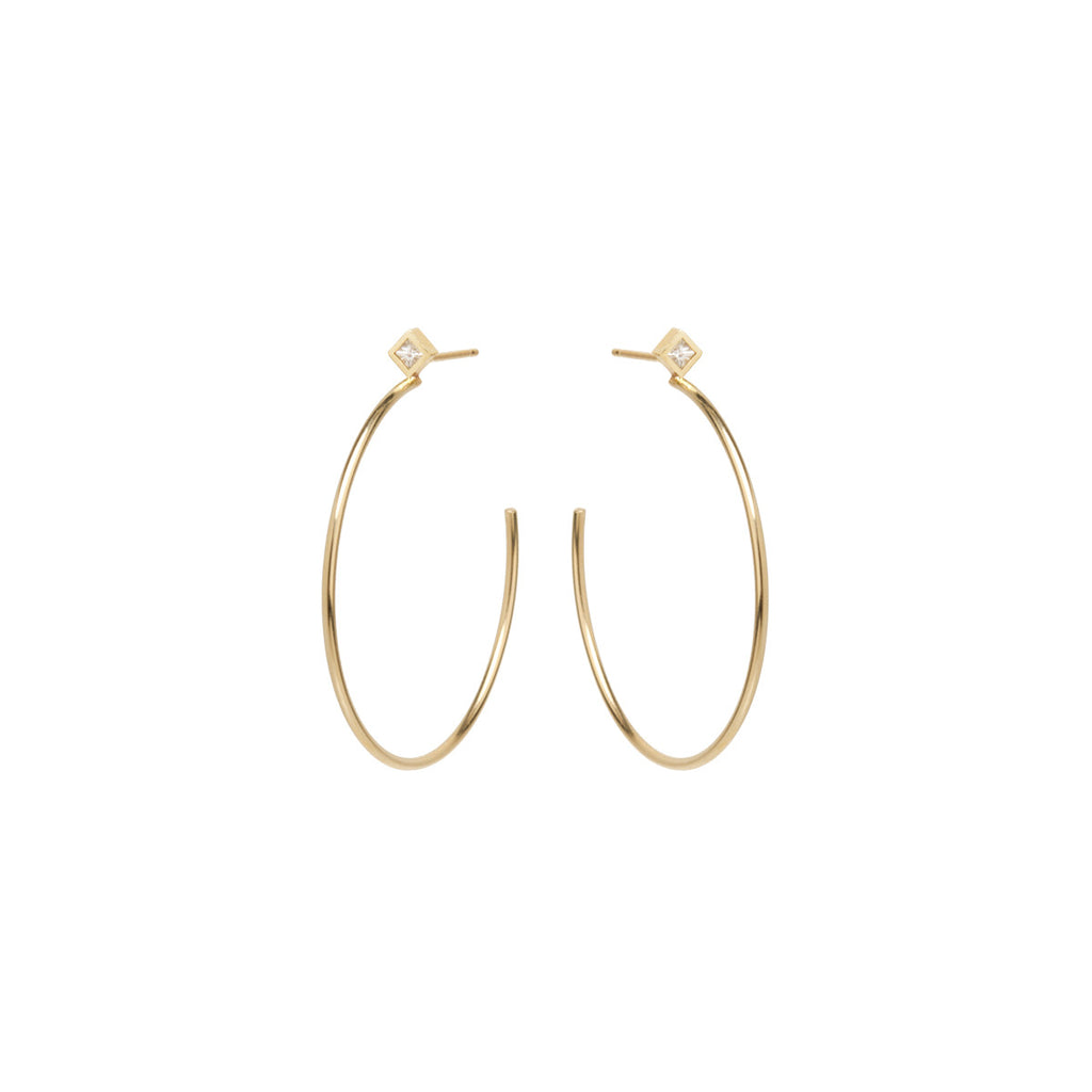 14k medium princess diamond stud hoops