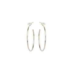 14k medium baguette diamond stud hoops