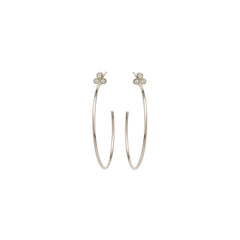 14k medium bezel diamond trio stud hoops