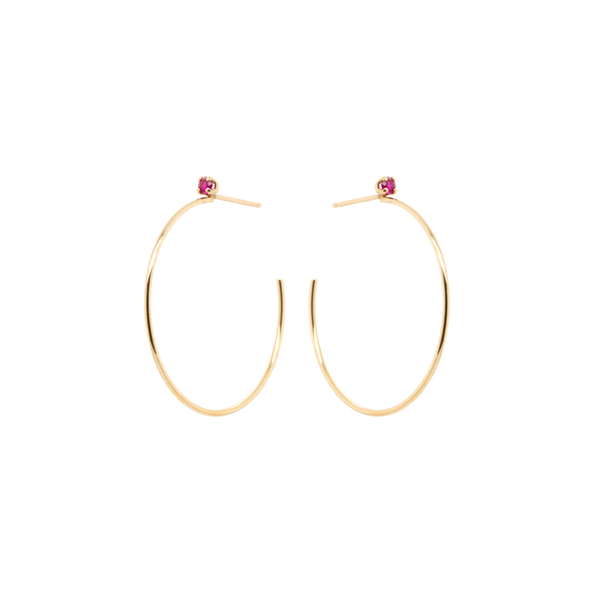 14k Medium Prong Ruby Stud Hoops