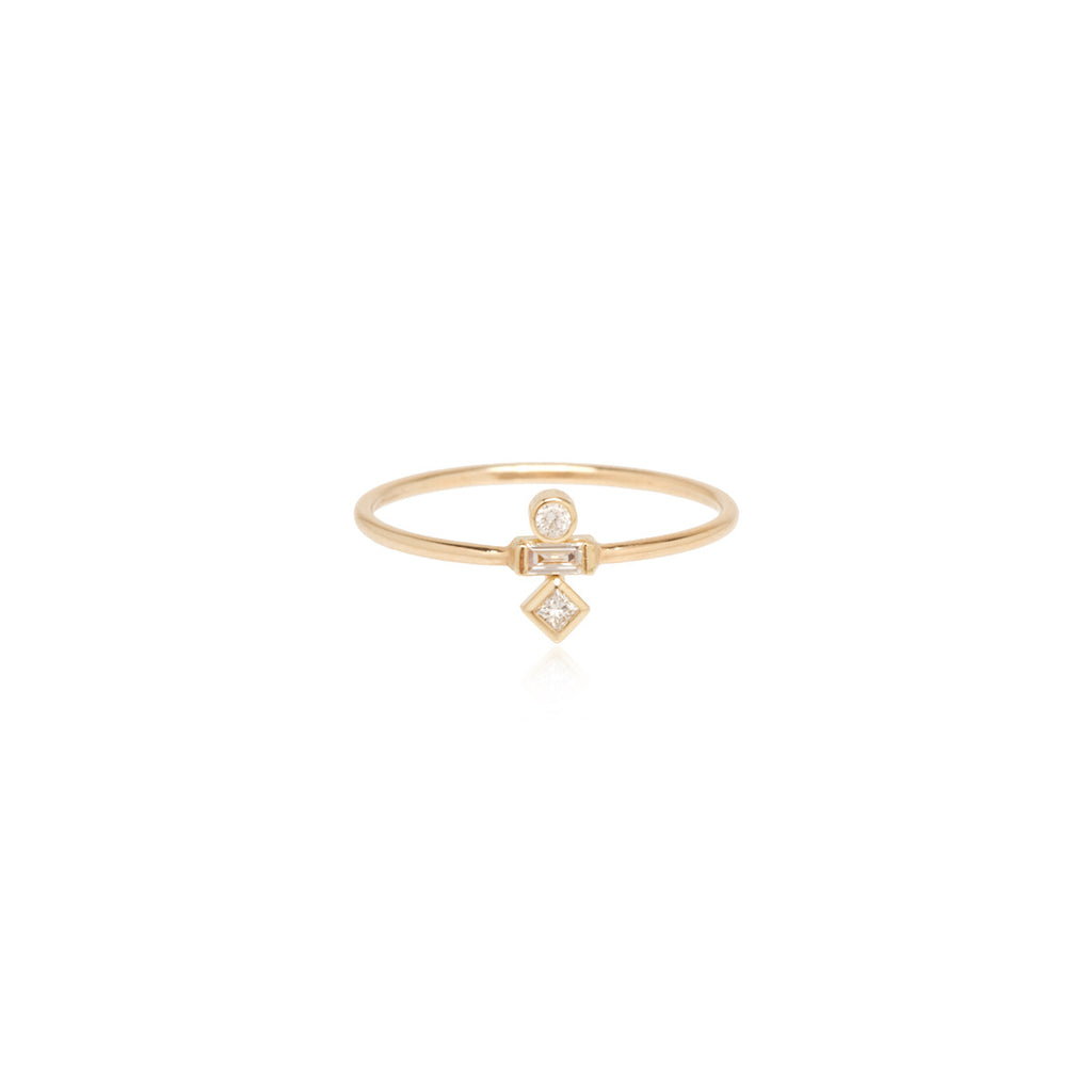 14k mixed diamond ring
