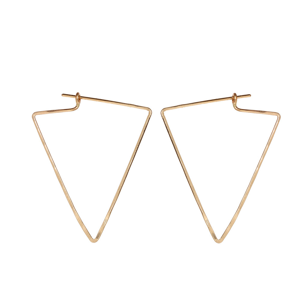 14k medium triangle hoops