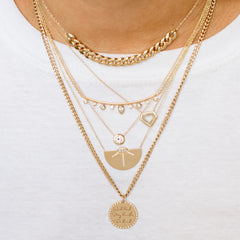 14k medium mantra curb chain necklace