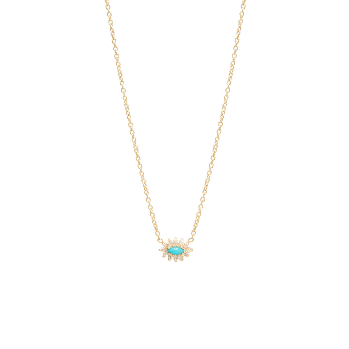 14k turquoise & diamond cluster necklace