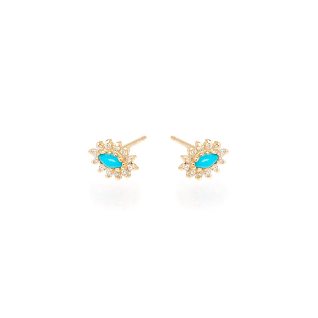 14k turquoise and diamond cluster studs