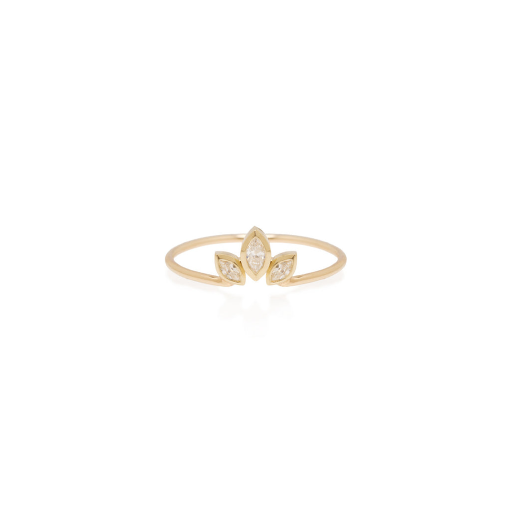 14k marquis diamond fan ring