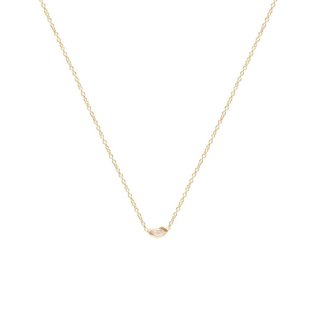 14k horizontal marquis diamond necklace