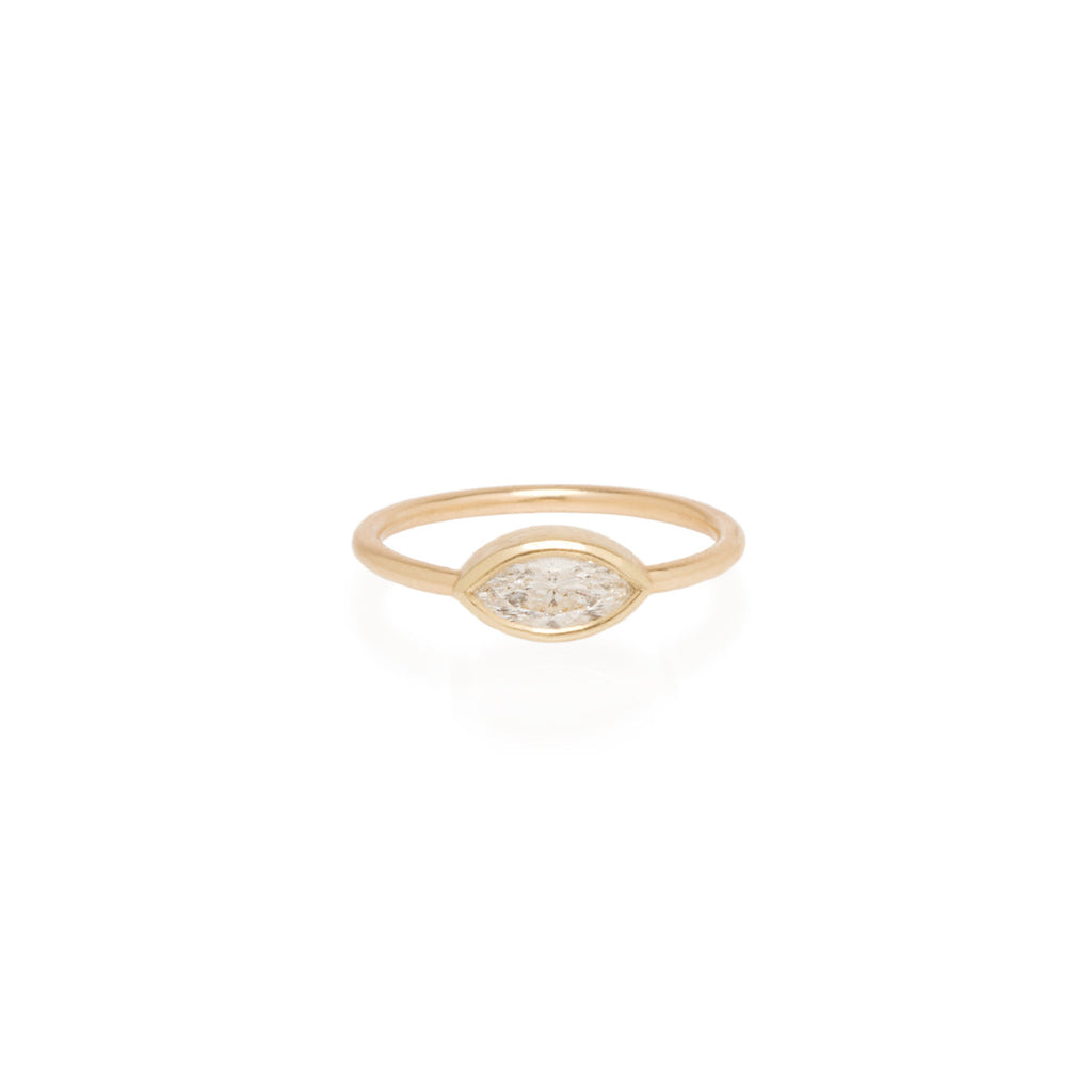 Zoë Chicco 14kt Yellow Gold Large Marquis Diamond Ring