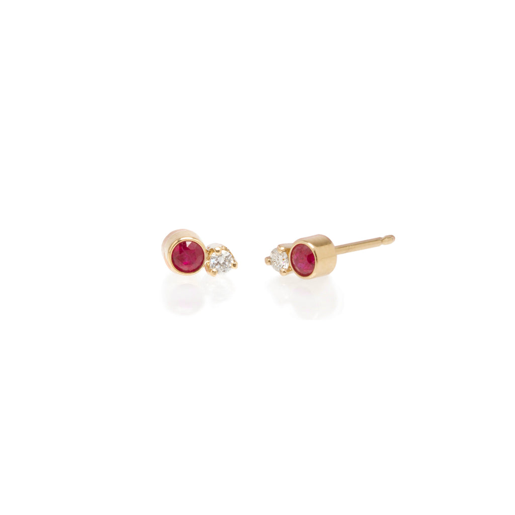 14k Mixed Ruby Bezel & Diamond Prong Studs