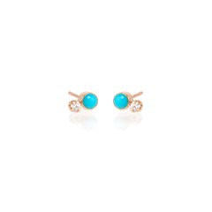 14k mixed turquoise and diamond studs