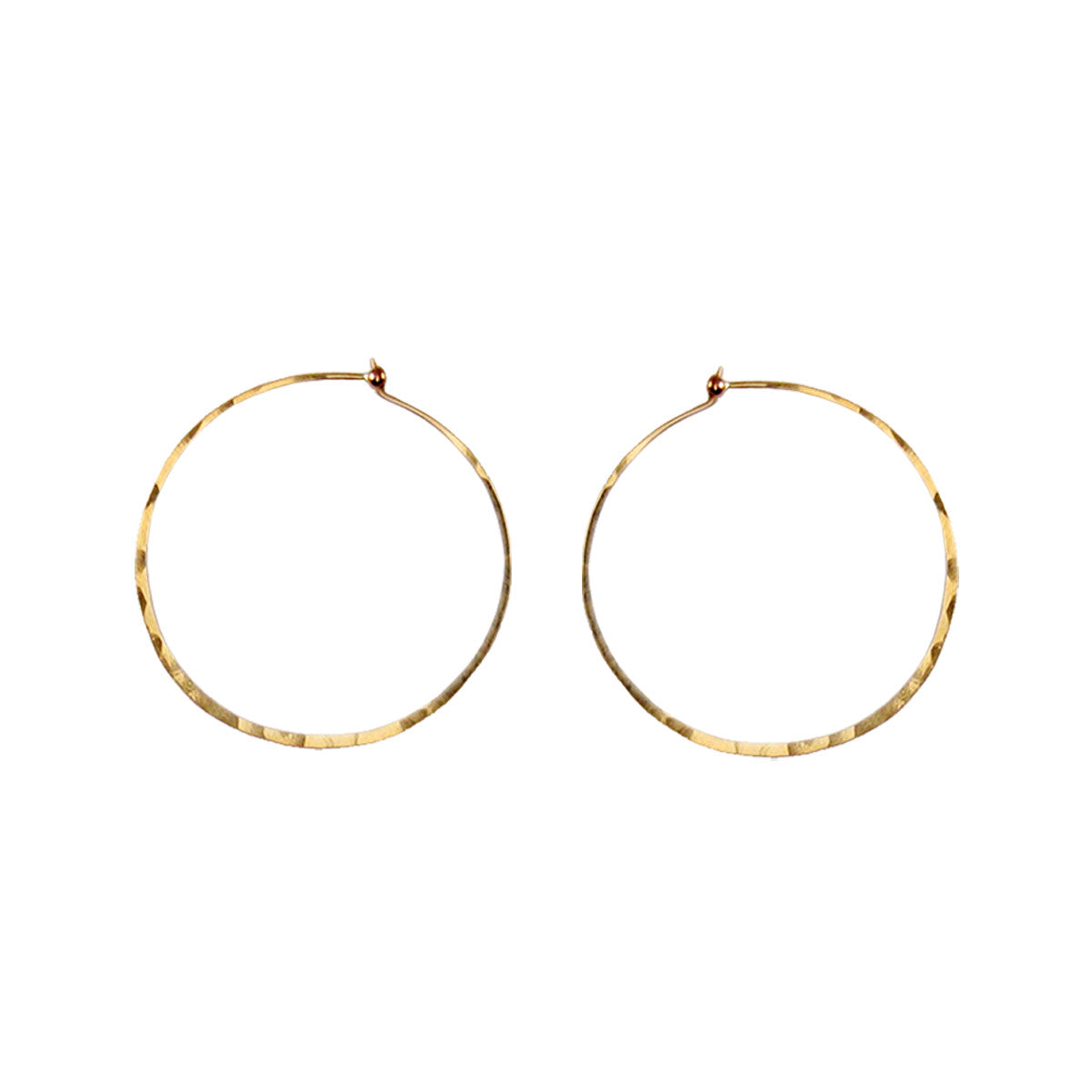14k medium thin hammered hoops