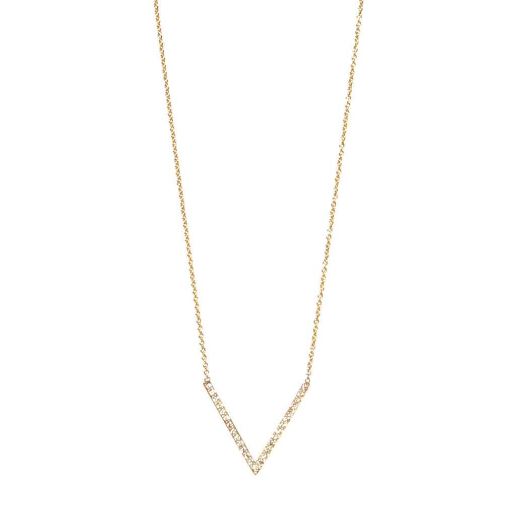 14k pave medium V necklace