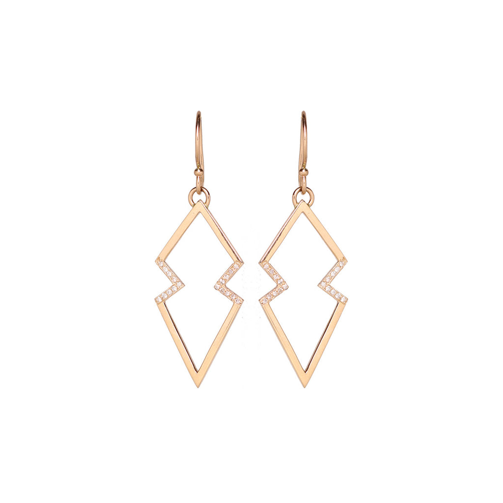 14k pave open arrowhead earrings