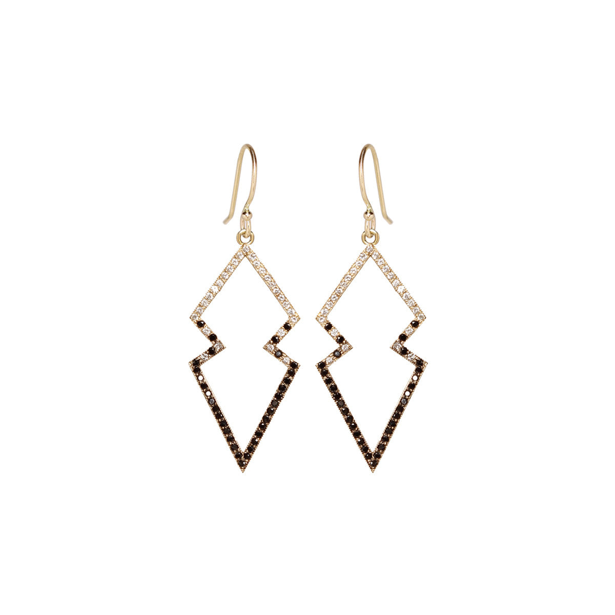 14k mixed pave open arrowhead earrings