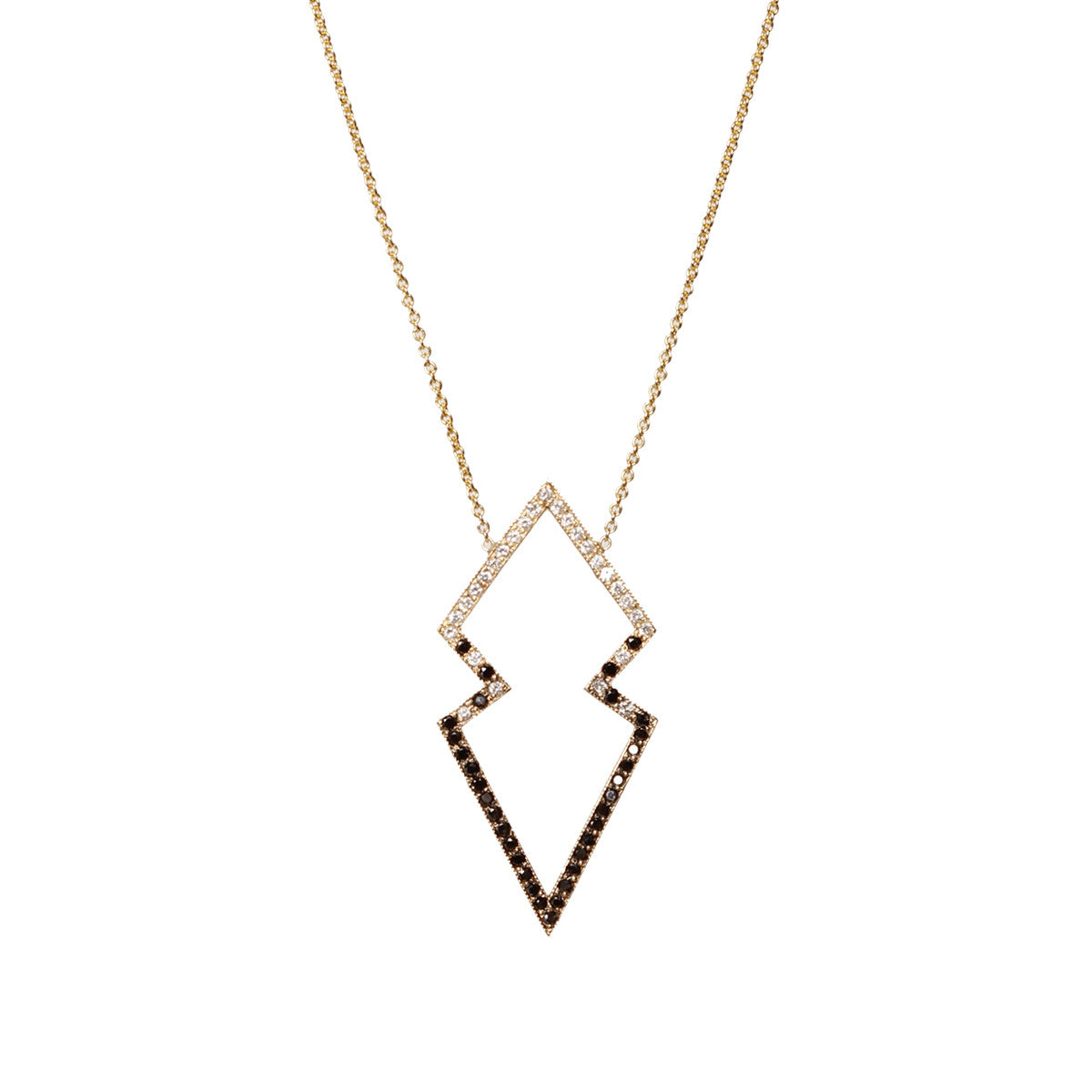 14k mixed pave open arrowhead necklace
