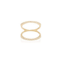 14k open tiny diamond bezel bar ring