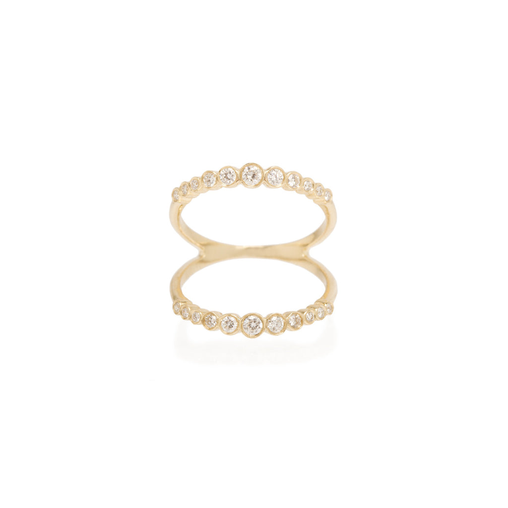 14k open graduated bezel bar ring