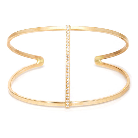 14k pave open straight bar cuff