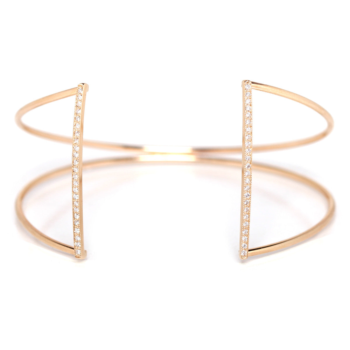 14k pave open bar cuff