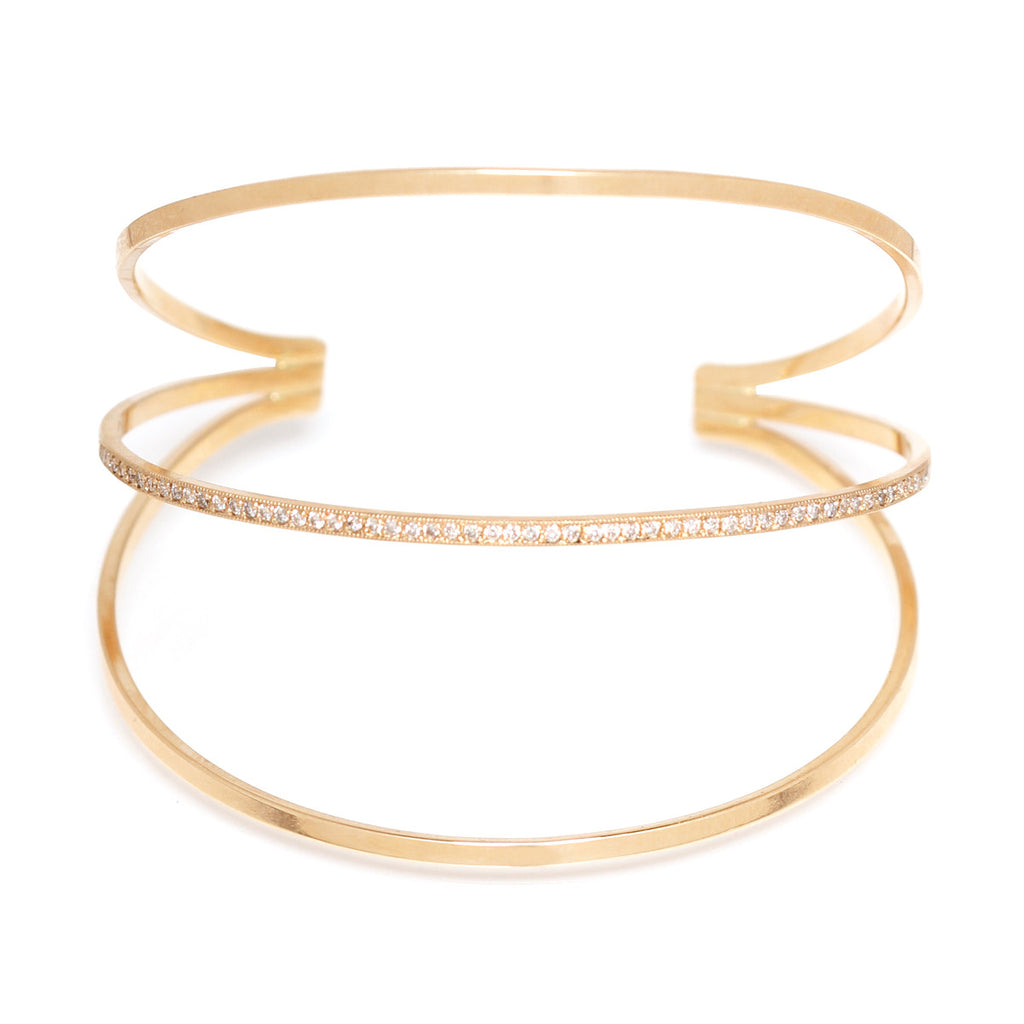 14k pave horizontal bar cuff