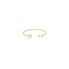 Zoë Chicco 14kt Yellow Gold Bezel Set White Round and Baguette Diamond Open Ring