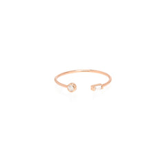 Zoë Chicco 14kt Rose Gold Bezel Set White Round and Baguette Diamond Open Ring