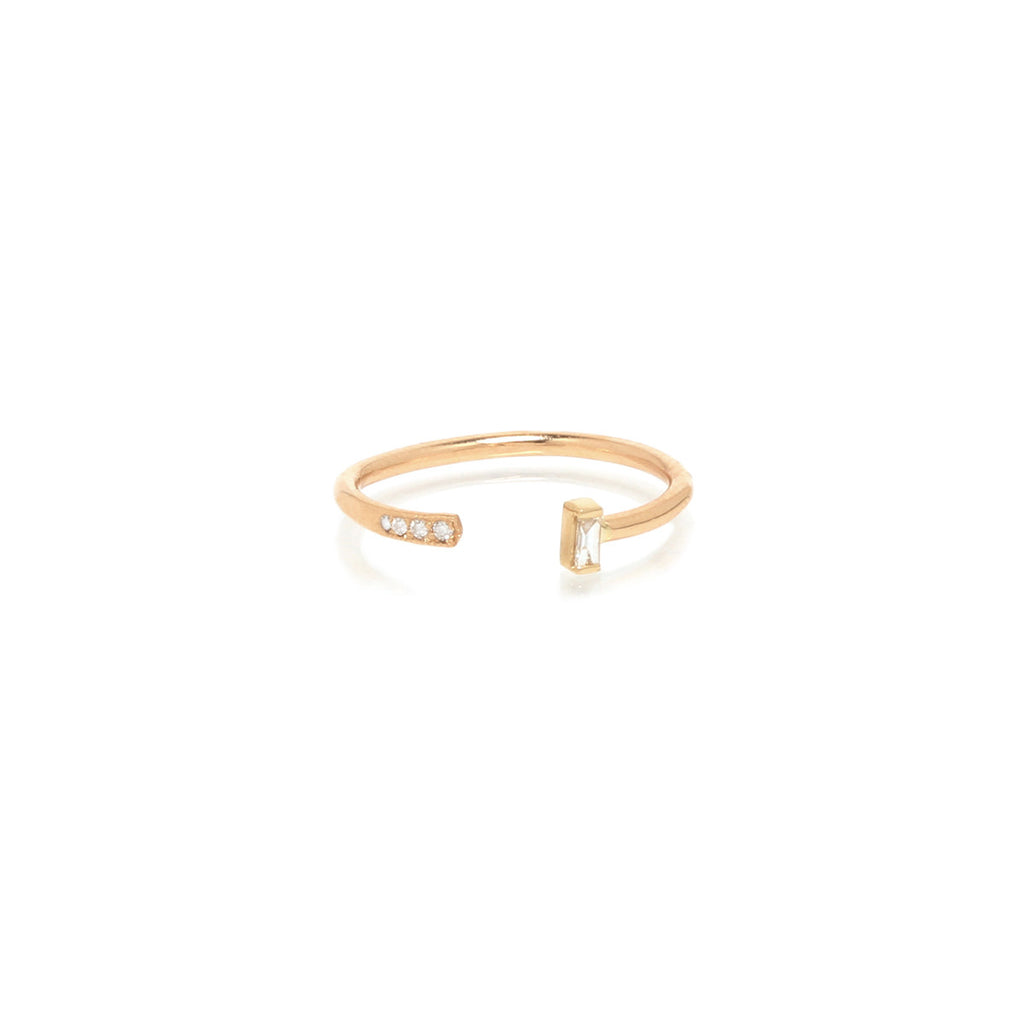 14k open pave and baguette ring