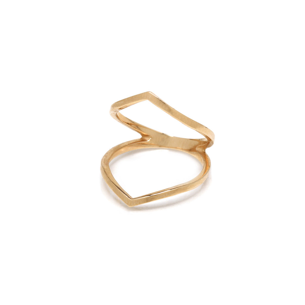 14k pointed open bar ring
