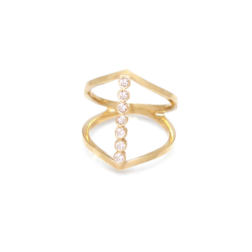 14k pointed 7 bezel bar ring
