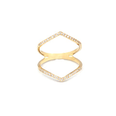 14k pointed pave bar ring