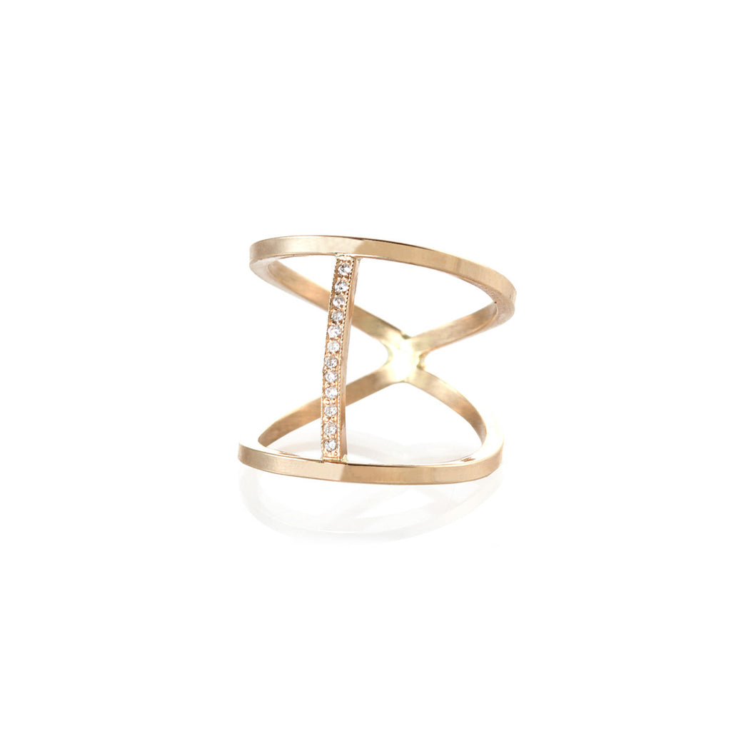 14k pave open cross bar ring