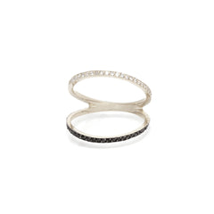 14k mixed pave open bar ring