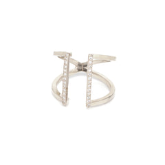 14k pave open two bar ring