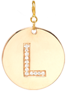 14k pave letter round initial disc charm pendant on spring ring