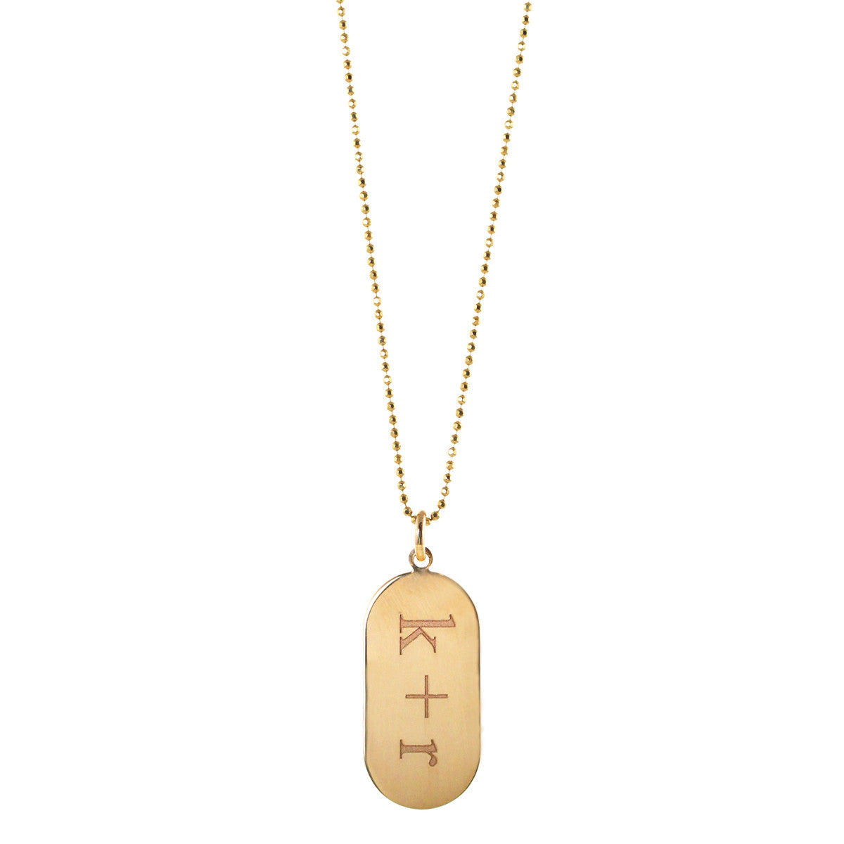 14k gold oval disc necklace