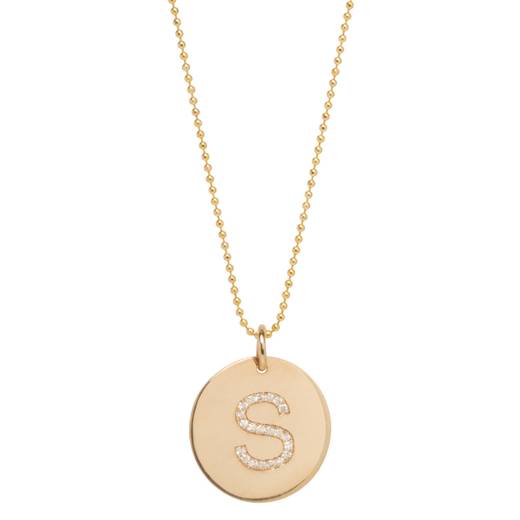 14k pave round initial disc necklace