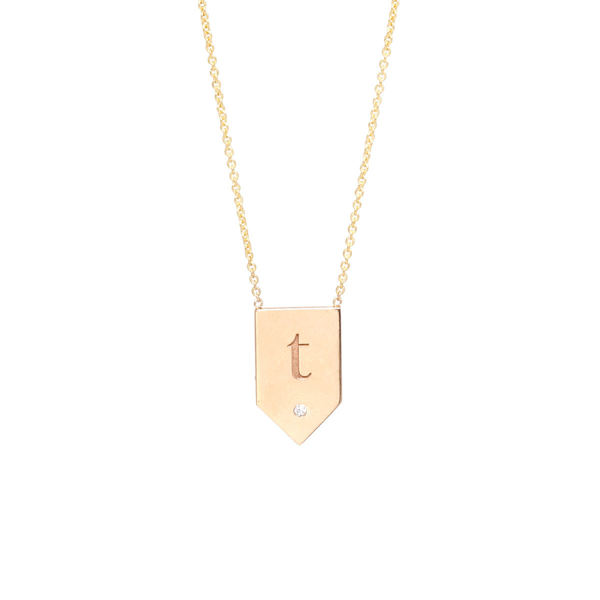 14k engraved flag shaped necklace
