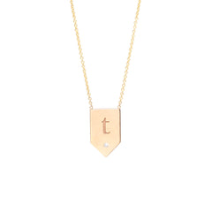 Zoë Chicco 14kt Yellow Gold White Diamond Engraved Flag Shaped Necklace