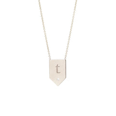 Zoë Chicco 14kt White Gold White Diamond Engraved Flag Shaped Necklace
