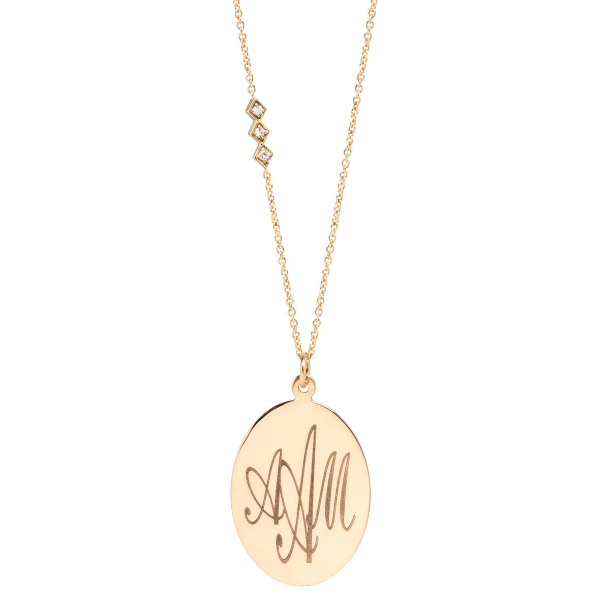 14k disc monogram necklace
