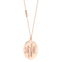 Zoë Chicco 14kt Rose Gold Disc Monogram Necklace