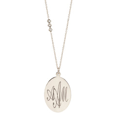 Zoë Chicco 14kt White Gold Disc Monogram Necklace