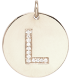 14k pave letter round initial disc charm pendant