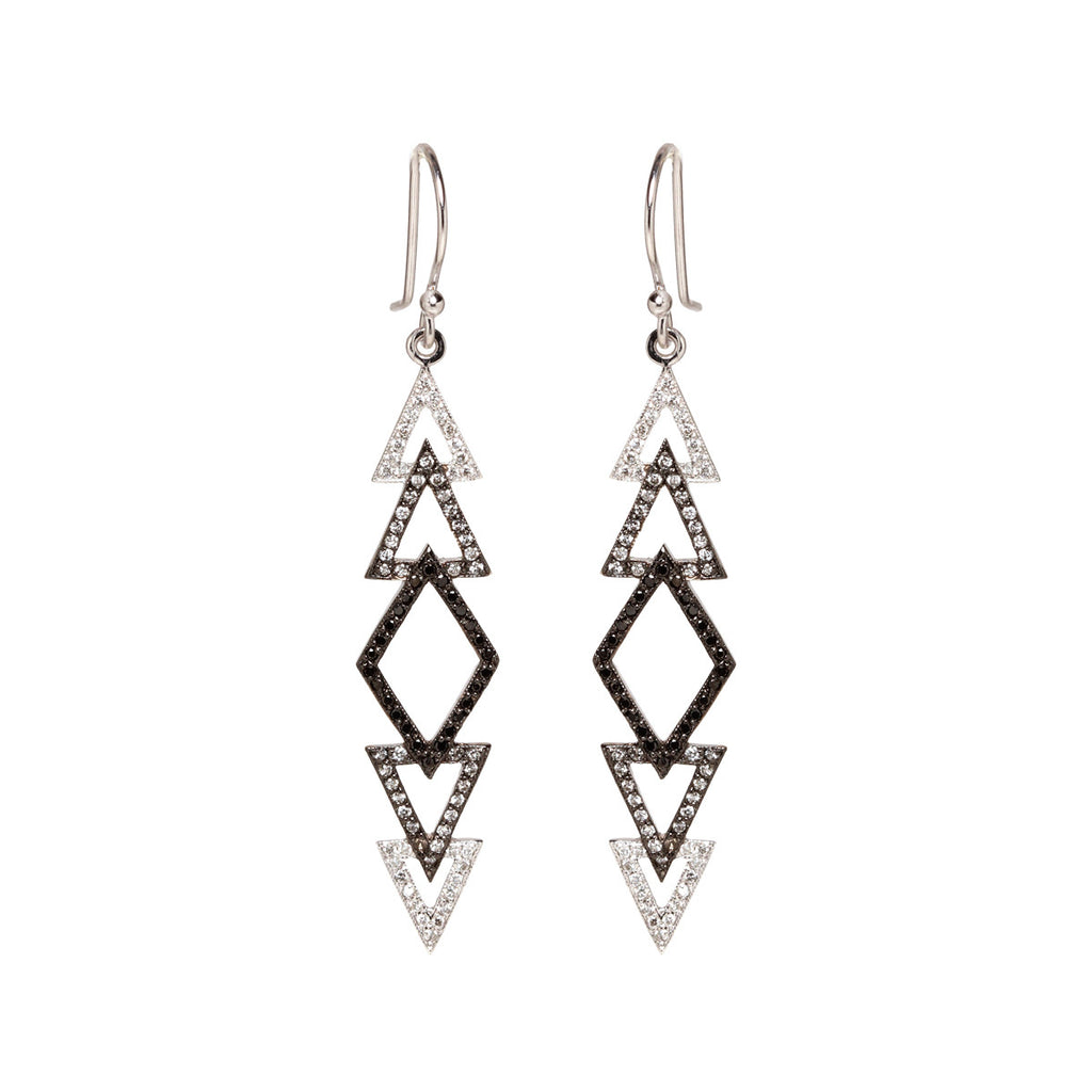 14k ombre pave tribal earrings