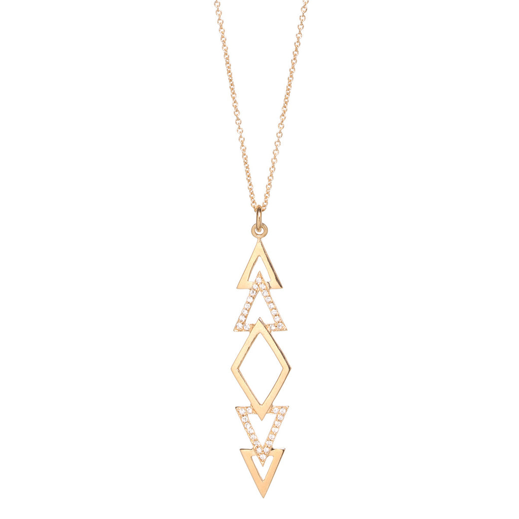 14k pave tribal triangle necklace