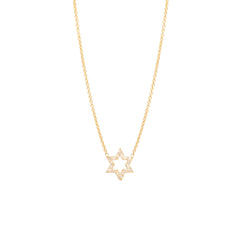 14k pave Star of David outline necklace